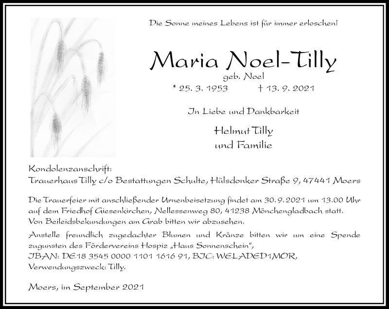 Traueranzeige für Maria Noel-Tilly vom 25.09.2021 aus Rheinische Post