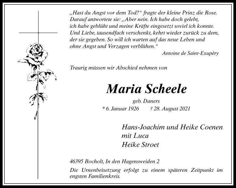 Traueranzeige für Maria Scheele vom 02.09.2021 aus Rheinische Post