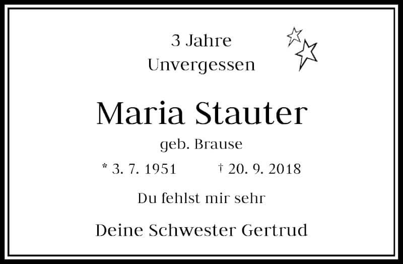 Traueranzeige für Maria Stauter vom 20.09.2021 aus Rheinische Post