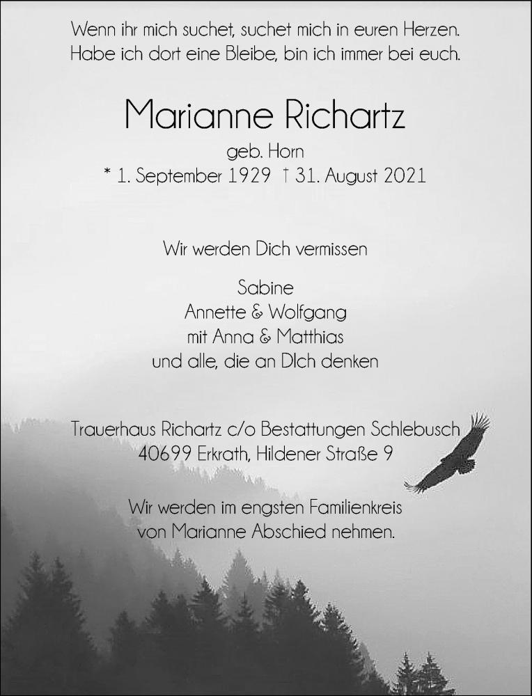 Traueranzeige für Marianne Richartz vom 11.09.2021 aus Rheinische Post