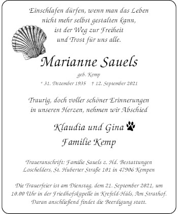 Traueranzeige von Marianne Sauels von Rheinische Post