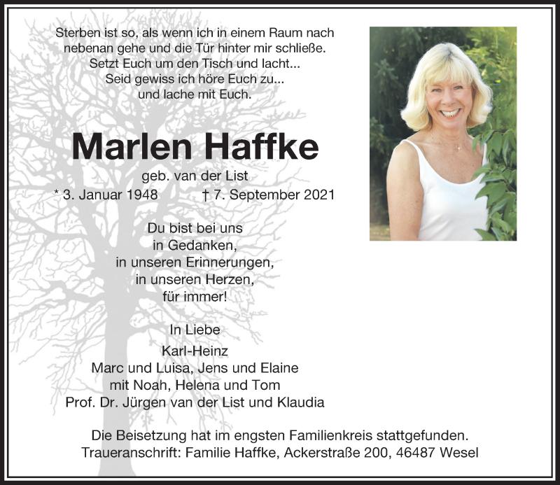 Traueranzeige für Marlen Haffke vom 22.09.2021 aus Rheinische Post