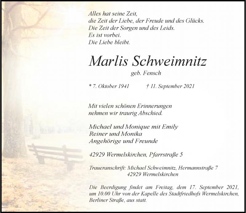 Traueranzeige für Marlis Schweimnitz vom 15.09.2021 aus Rheinische Post
