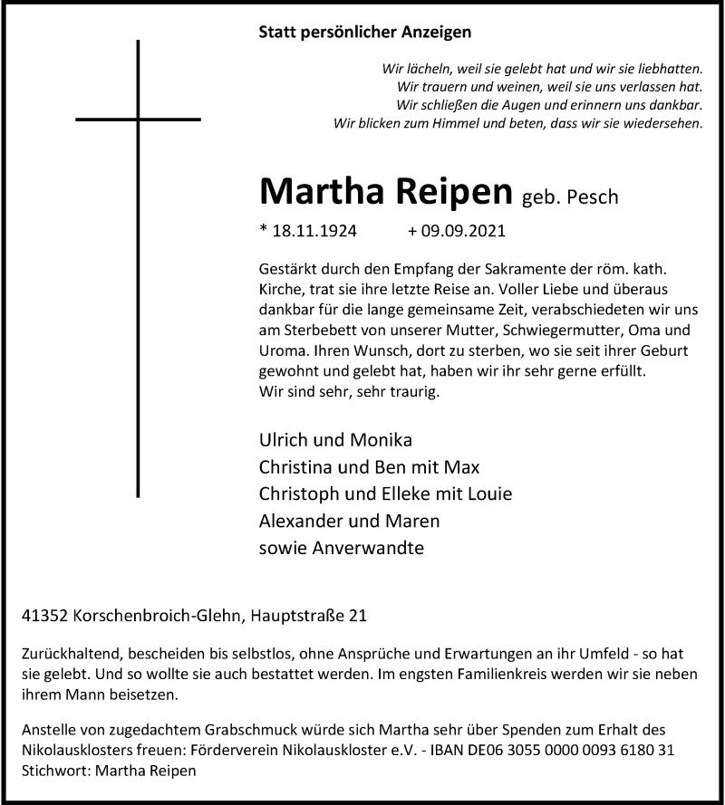 Traueranzeige für Martha Reipen vom 11.09.2021 aus Rheinische Post