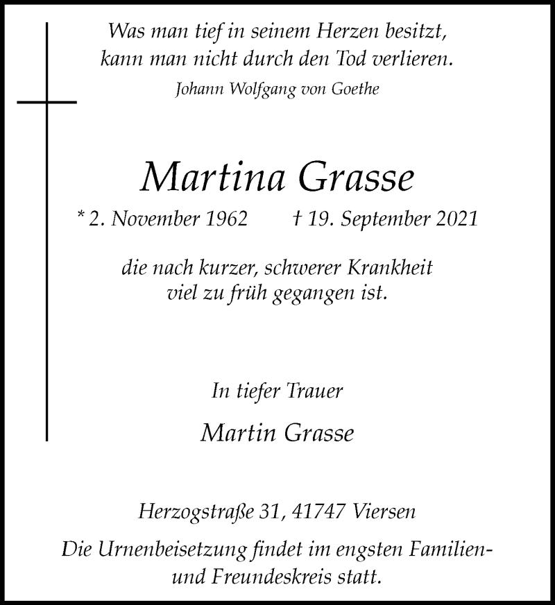 Traueranzeige für Martina Grasse vom 25.09.2021 aus Rheinische Post