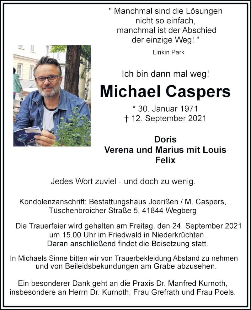 Traueranzeige für Michael Caspers vom 18.09.2021 aus Rheinische Post