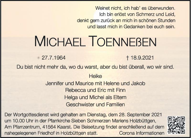 Traueranzeige für Michael Toenneßen vom 25.09.2021 aus Rheinische Post
