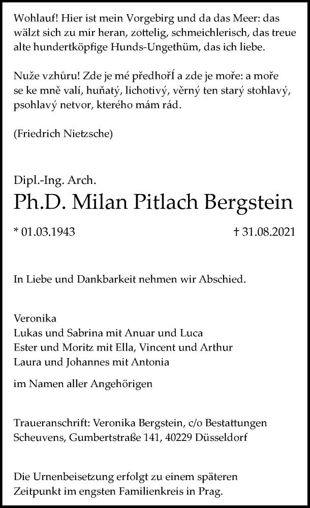 Traueranzeige für Milan Pitlach Bergstein vom 11.09.2021 aus Rheinische Post