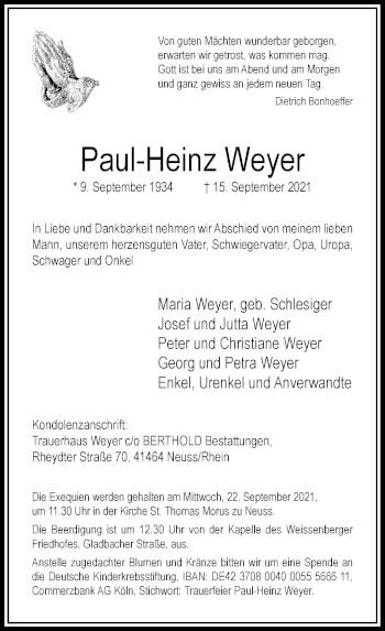 Traueranzeige von Paul-Heinz Weyer von Rheinische Post