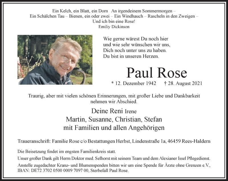 Traueranzeige für Paul Rose vom 04.09.2021 aus Rheinische Post