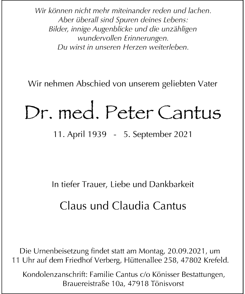 Traueranzeige für Peter Cantus vom 18.09.2021 aus Rheinische Post