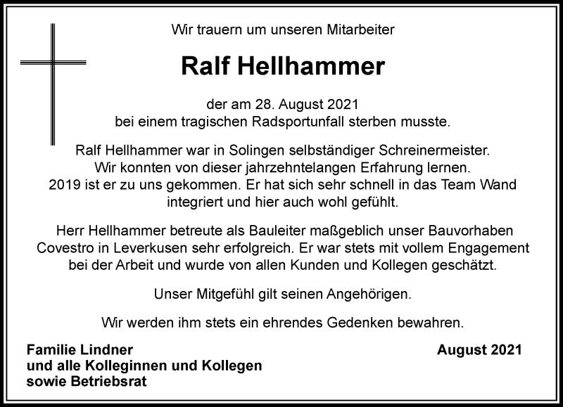 Traueranzeige für Ralf Hellhammer vom 02.09.2021 aus Rheinische Post