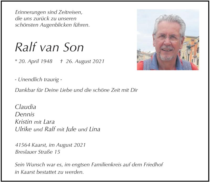 Traueranzeige für Ralf van Son vom 01.09.2021 aus Rheinische Post