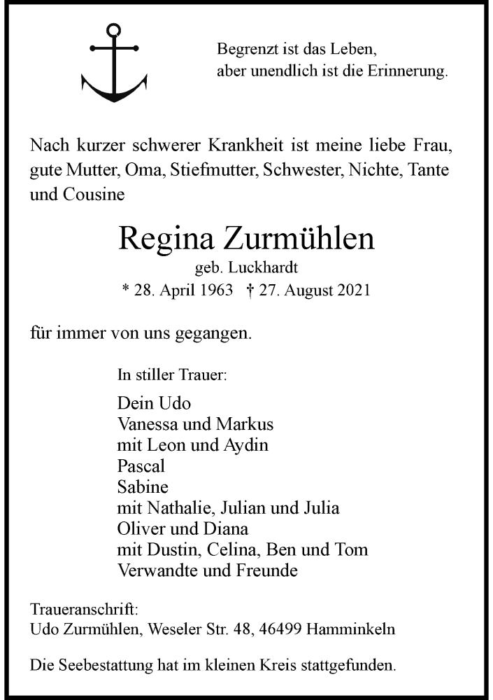 Traueranzeige für Regina Zurmühlen vom 25.09.2021 aus Rheinische Post