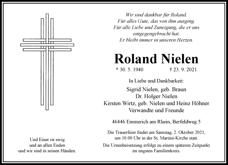 Traueranzeige für Roland Nielen vom 29.09.2021 aus Rheinische Post