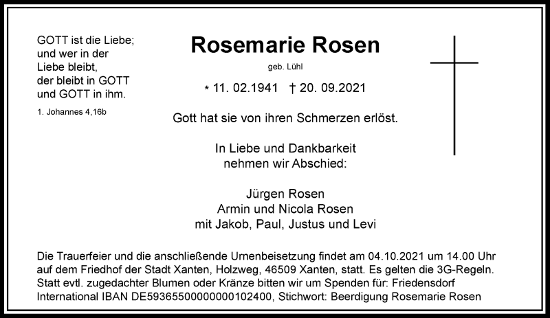 Traueranzeige für Rosemarie Rosen vom 29.09.2021 aus Rheinische Post