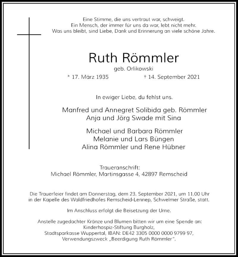 Traueranzeige für Ruth Römmler vom 18.09.2021 aus Rheinische Post