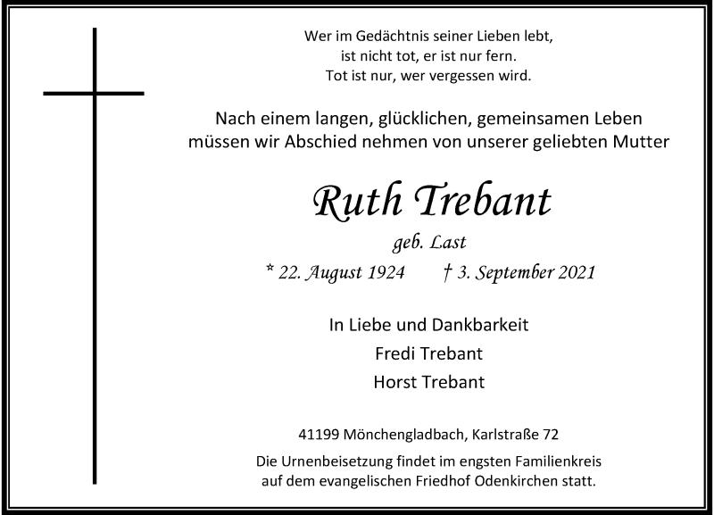 Traueranzeige für Ruth Trebant vom 11.09.2021 aus Rheinische Post