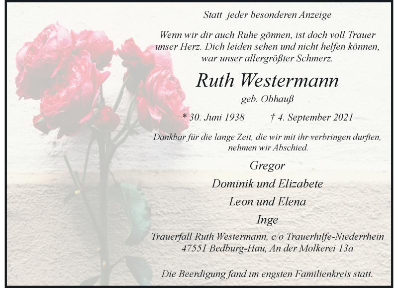Traueranzeige für Ruth Westermann vom 13.09.2021 aus Rheinische Post