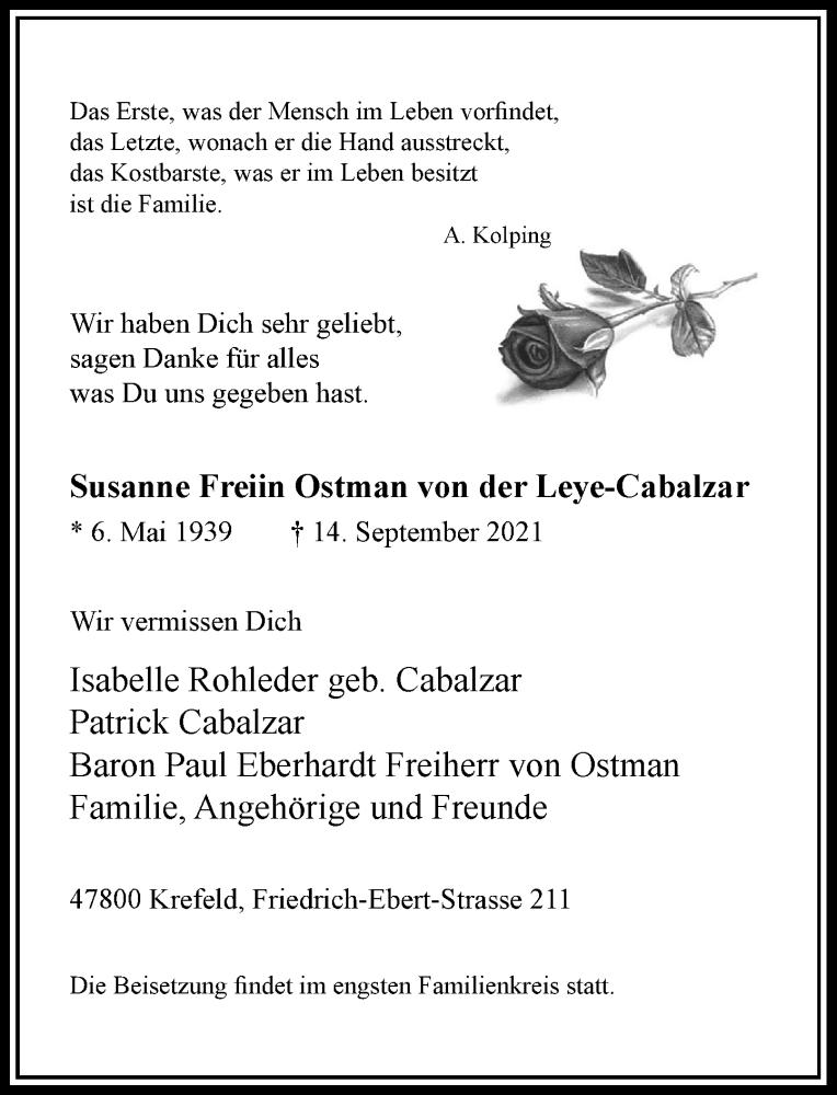 Traueranzeige für Susanne Freiin Ostman von der Leye-Cabalzar vom 25.09.2021 aus Rheinische Post