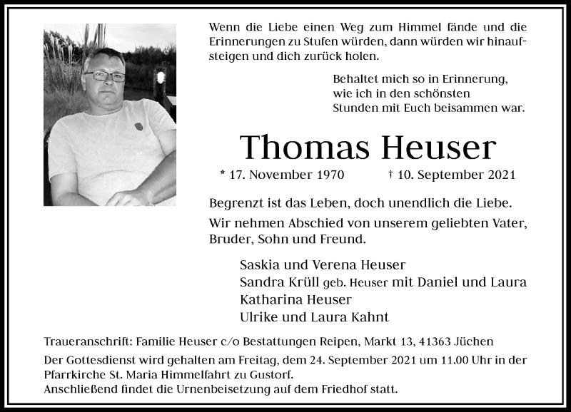 Traueranzeige für Thomas Heuser vom 18.09.2021 aus Rheinische Post