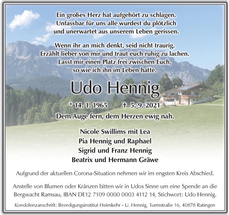 Traueranzeige für Udo Hennig vom 11.09.2021 aus Rheinische Post