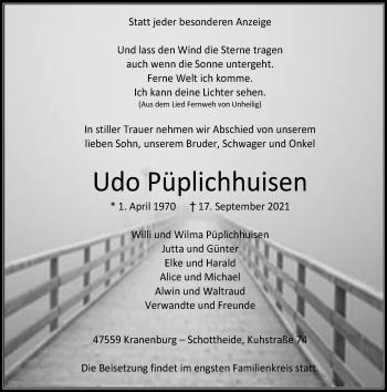Traueranzeige von Udo Püplichhuisen von Rheinische Post