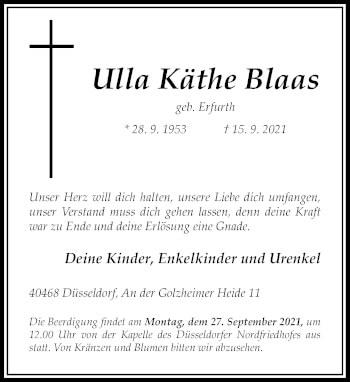Traueranzeige von Ulla Käthe Blaas von Rheinische Post