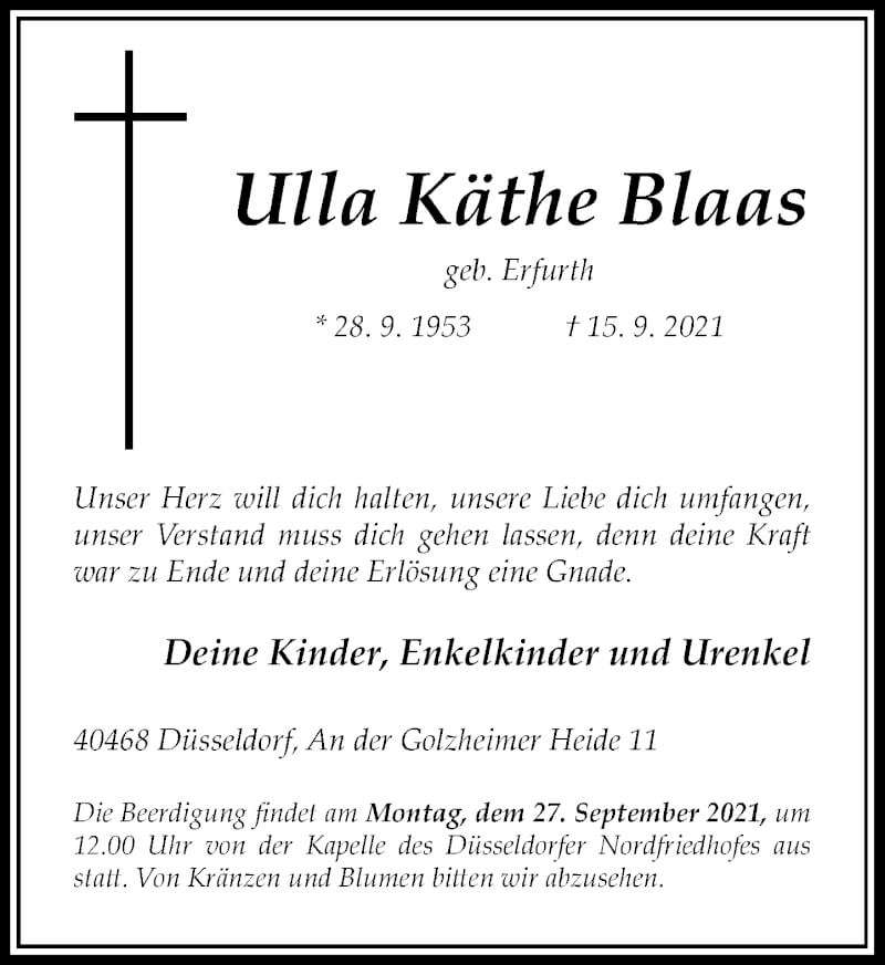 Traueranzeige für Ulla Käthe Blaas vom 18.09.2021 aus Rheinische Post