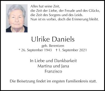 Traueranzeige von Ulrike Daniels von Rheinische Post