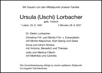 Traueranzeige von Ursula  Lorbacher von Rheinische Post