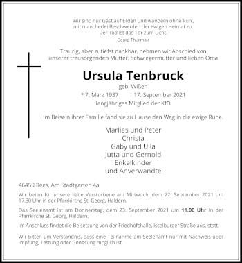 Traueranzeige von Ursula Tenbruck von Rheinische Post