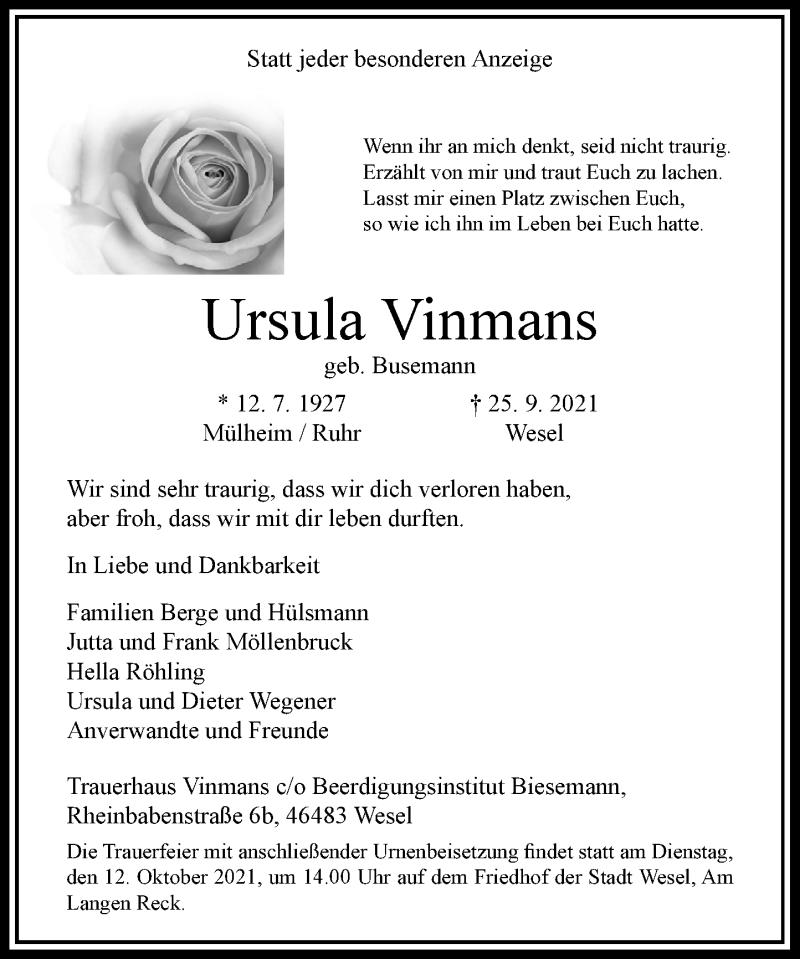 Traueranzeige für Ursula Vinmans vom 05.10.2021 aus Rheinische Post