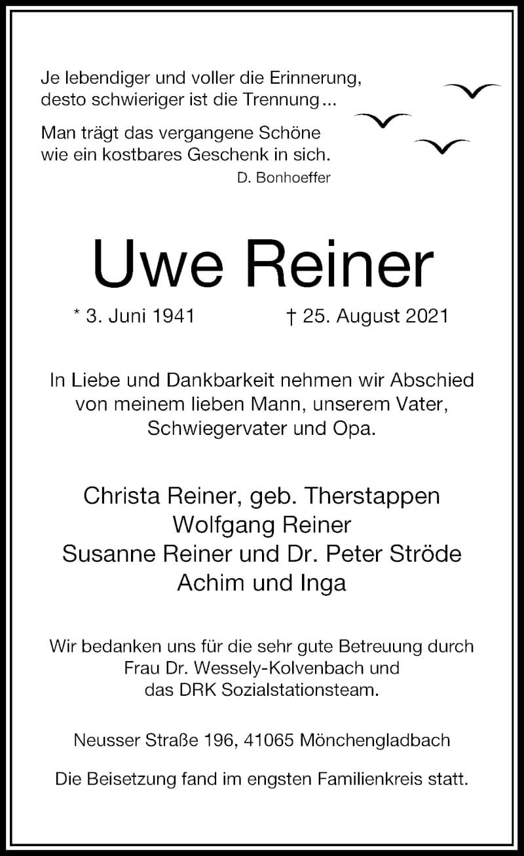 Traueranzeige für Uwe Reiner vom 18.09.2021 aus Rheinische Post