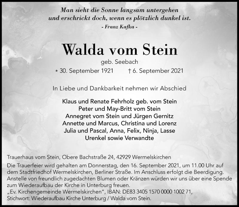 Traueranzeige für Walda vom Stein vom 11.09.2021 aus Rheinische Post