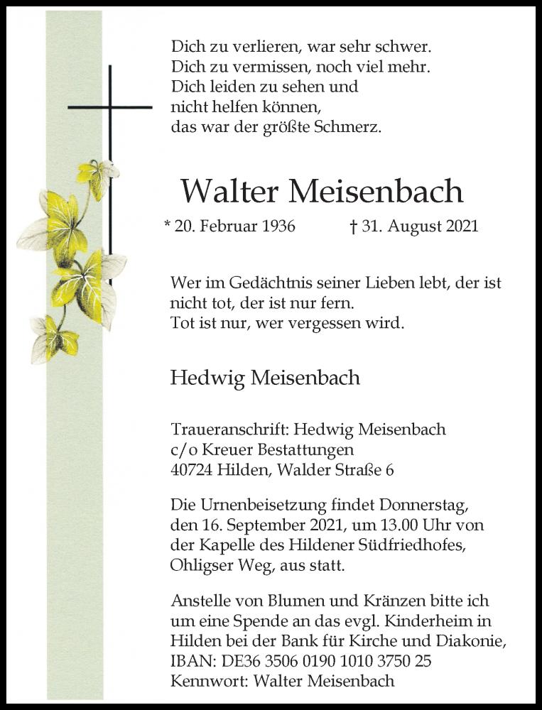Traueranzeige für Walter Meisenbach vom 11.09.2021 aus Rheinische Post