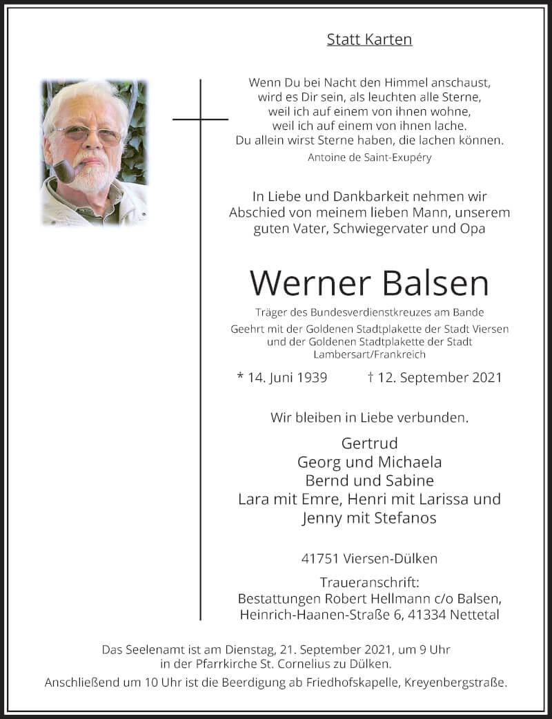 Traueranzeige für Werner Balsen vom 18.09.2021 aus Rheinische Post
