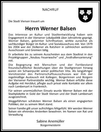 Traueranzeige von Werner Balsen von Rheinische Post