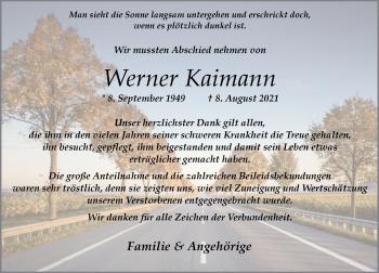 Traueranzeige von Werner Kaimann von Rheinische Post