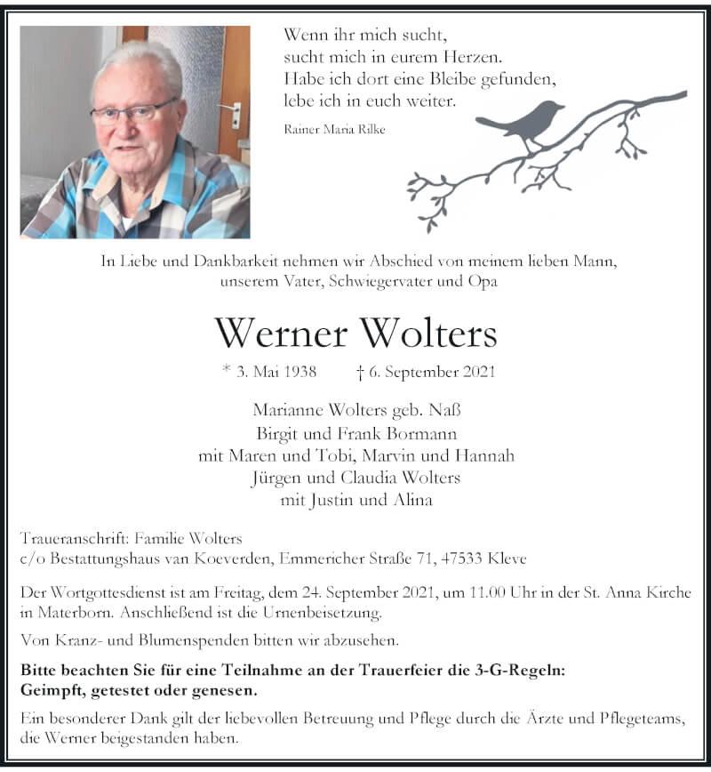 Traueranzeige für Werner Wolters vom 18.09.2021 aus Rheinische Post