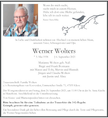 Traueranzeige von Werner Wolters von Rheinische Post