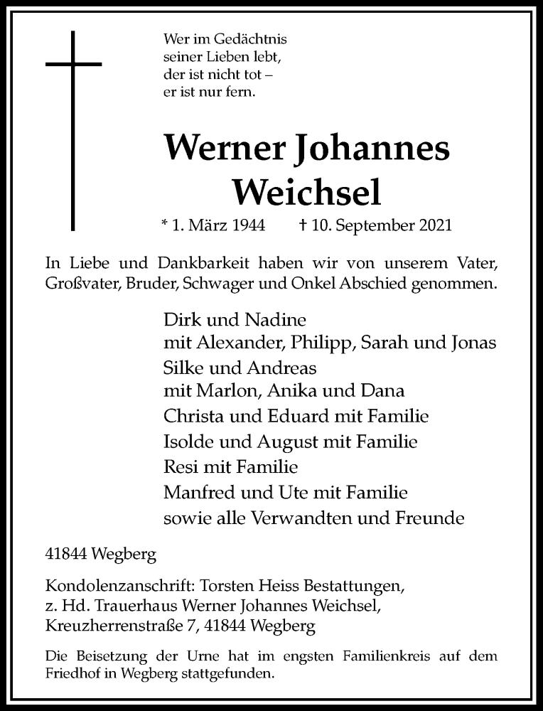 Traueranzeige für Werner Johannes Weichsel vom 05.10.2021 aus Rheinische Post