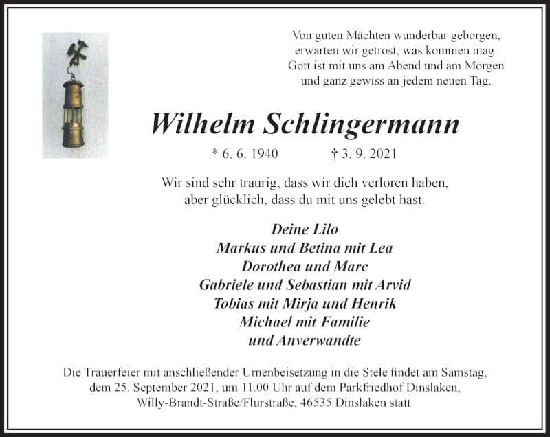 Traueranzeige für Wilhelm Schlingermann vom 18.09.2021 aus Rheinische Post