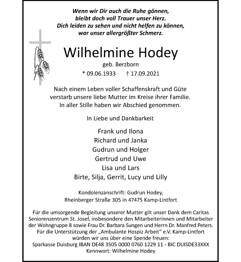 Traueranzeige für Wilhelmine Hodey vom 24.09.2021 aus Rheinische Post