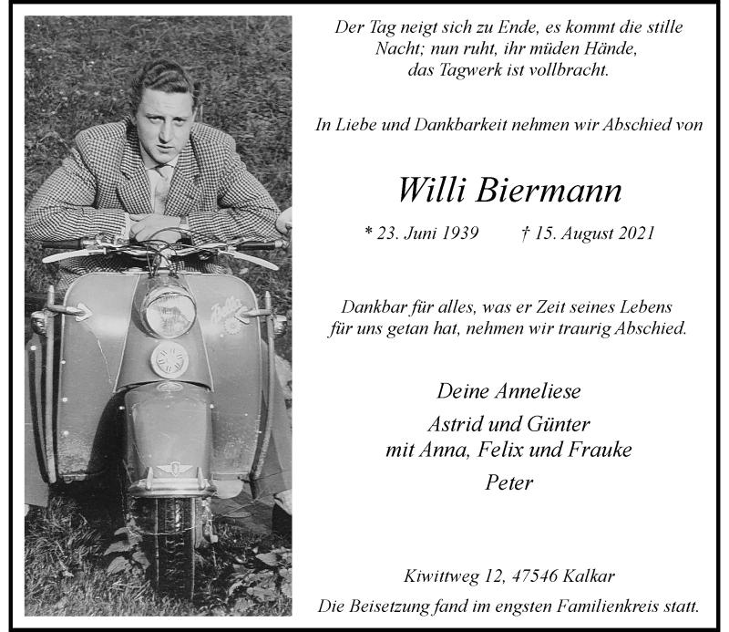 Traueranzeige für Willi Biermann vom 04.09.2021 aus Rheinische Post