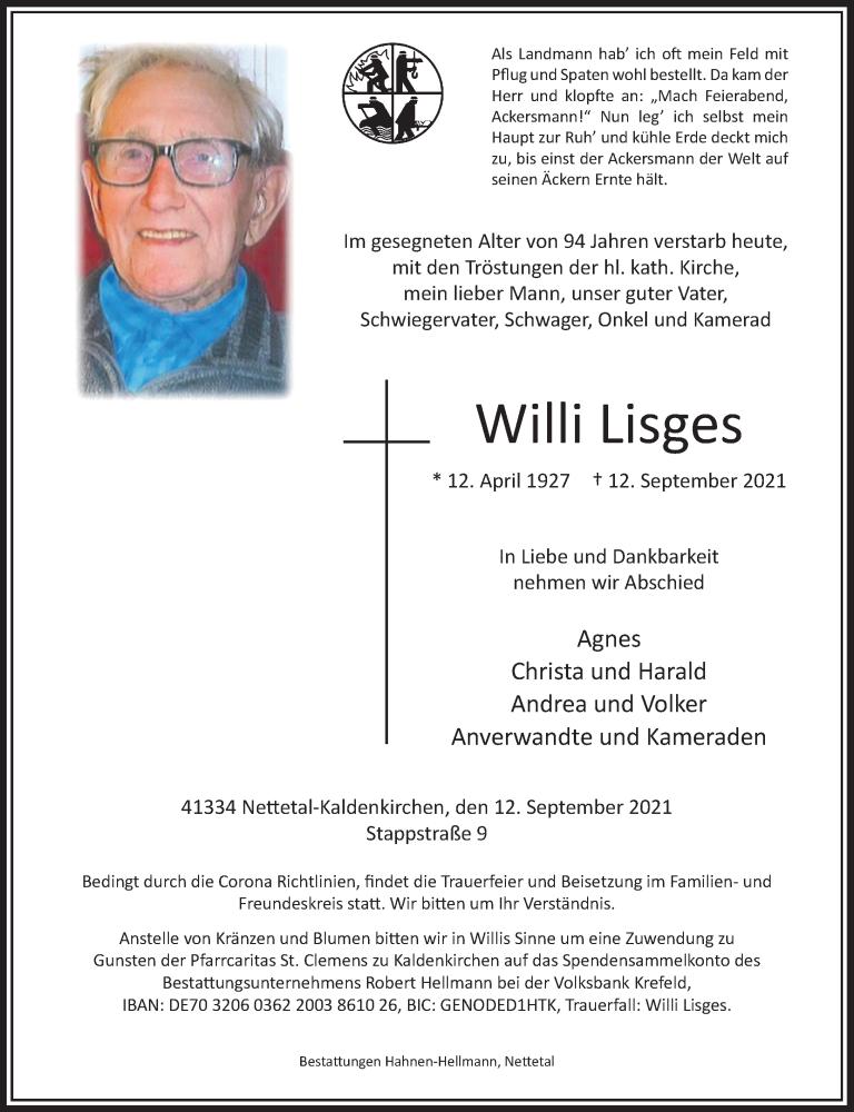 Traueranzeige für Willi Lisges vom 15.09.2021 aus Rheinische Post