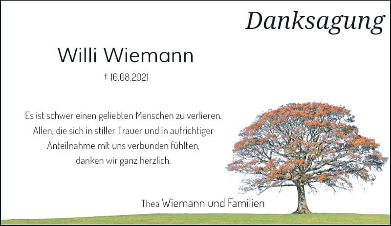 Traueranzeige für Willi Wiemann vom 18.09.2021 aus Rheinische Post