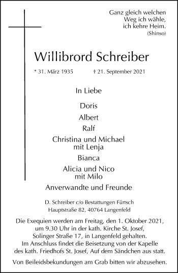 Traueranzeige von Willibrord Schreiber von Rheinische Post