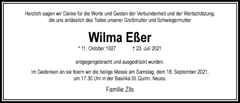 Traueranzeige für Wilma Eßer vom 11.09.2021 aus Rheinische Post