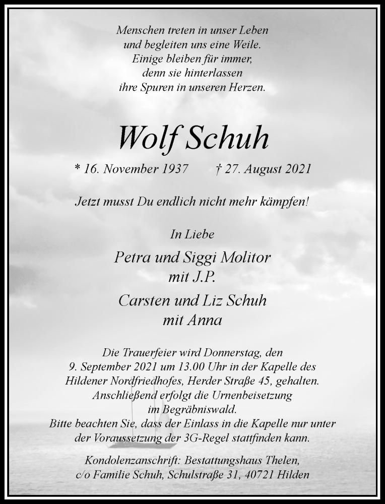 Traueranzeige für Wolf Schuh vom 04.09.2021 aus Rheinische Post